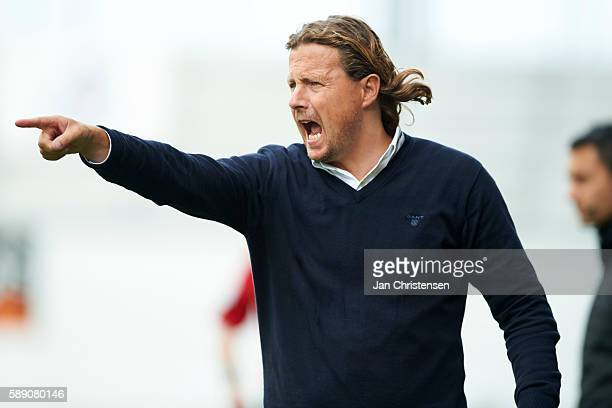 Bo Henriksen head coach of AC Horsens gives instructions during the Danish Alka Superliga match between AC Horsens and Silkeborg IF at Casa Arena...