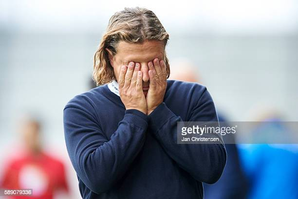Bo Henriksen head coach of AC Horsens looks dejected after the Danish Alka Superliga match between AC Horsens and Silkeborg IF at Casa Arena Horsens...