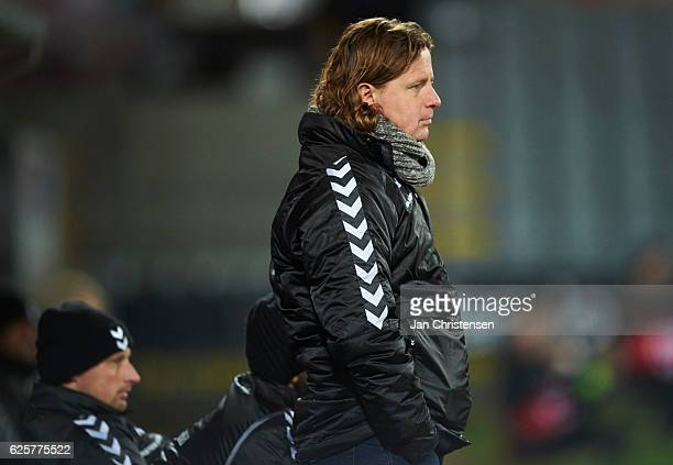 Bo Henriksen head coach of AC Horsens looks dejected during the Danish Alka Superliga match between AC Horsens and AGF Arhus at Casa Arena Horsens on...