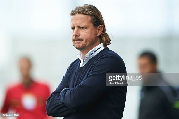 Bo Henriksen head coach of AC Horsens looks on during the Danish Alka Superliga match between AC Horsens and Silkeborg IF at Casa Arena Horsens on...
