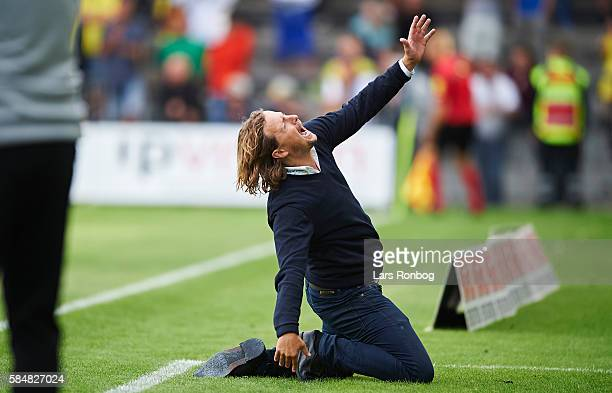 Bo Henriksen head coach of AC Horsens shows frustration during the Danish Alka Superliga match between Brondby IF and AC Horsens at Brondby Stadion...