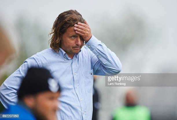 Bo Henriksen head coach of AC Horsens shows frustration during the Danish Alka Superliga Playoff match between Vendsyssel FF and AC Horsens at...