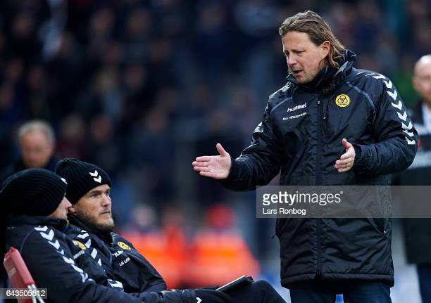Bo Henriksen head coach of AC Horsens speaks to Niels Lodberg assistant coach of AC Horsens during the Danish Alka Superliga match between Silkeborg...