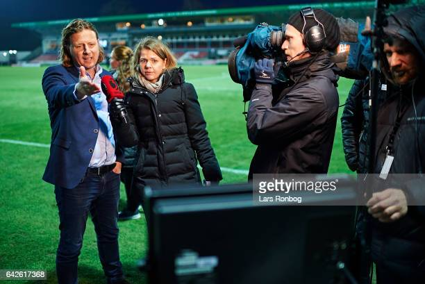 Bo Henriksen head coach of AC Horsens speaks to the press Viasat / TV3 Sport and watch game incidents on television after the Danish Alka Superliga...