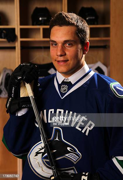 Bo Horvat 9th pick overall by the Vancouver Canucks poses for a portrait during the 2013 NHL Draft at Prudential Center on June 30 2013 in Newark New...