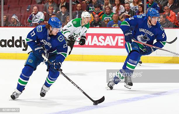 Bo Horvat and Ben Hutton of the Vancouver Canucks skate up ice with the puck during their NHL game against the Dallas Stars at Rogers Arena November...
