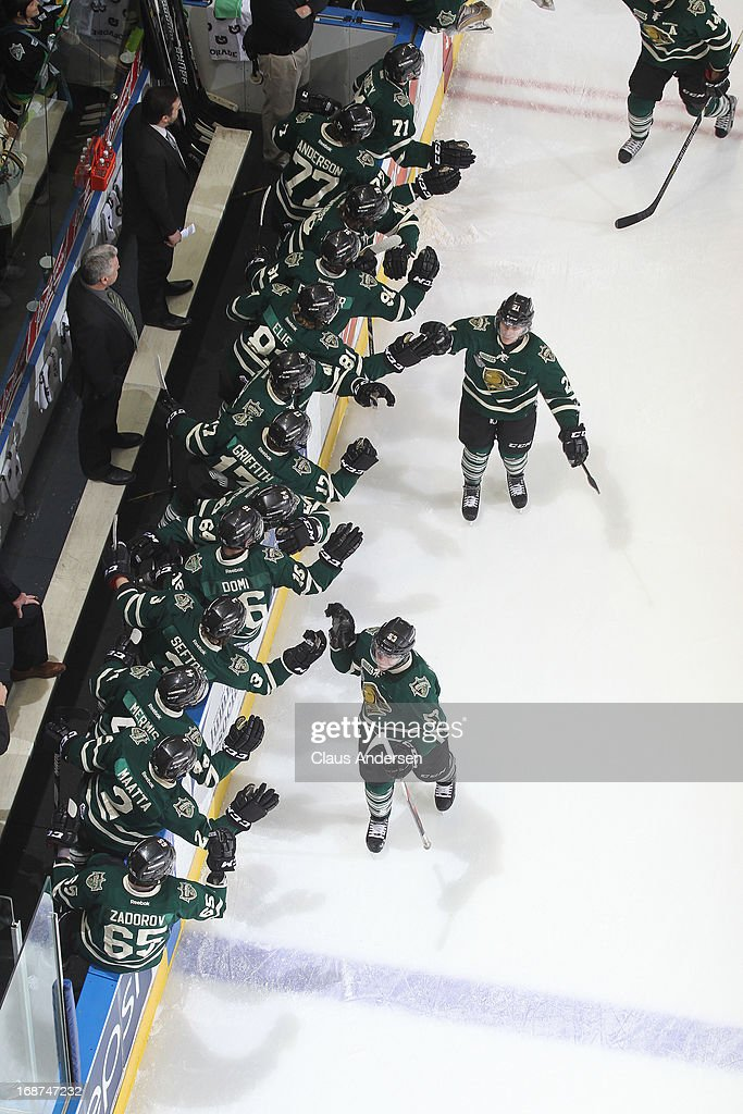 <a gi-track='captionPersonalityLinkClicked' href=/galleries/search?phrase=Bo+Horvat&family=editorial&specificpeople=8321784 ng-click='$event.stopPropagation()'>Bo Horvat</a> #53 of the London Knights celebrates a goal against the Barrie Colts in Game Seven in the 2013 OHL Championship Final on May 13, 2013 at the Budweiser Gardens in London, Ontario, Canada. The Knights defeated the Colts 3-2.