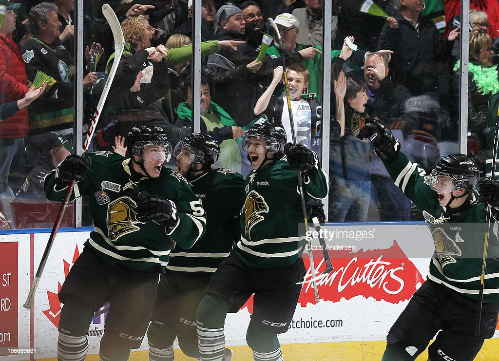 <a gi-track='captionPersonalityLinkClicked' href=/galleries/search?phrase=Bo+Horvat&family=editorial&specificpeople=8321784 ng-click='$event.stopPropagation()'>Bo Horvat</a> #53 of the London Knights celebrates his winning goal with less than a second left against the Barrie Colts in Game Seven of the 2013 OHL Championship Final on May 13, 2013 at the Budweiser Gardens in London, Ontario, Canada. The Knights defeated the Colts 3-2 to win the OHL Championship 4-3.