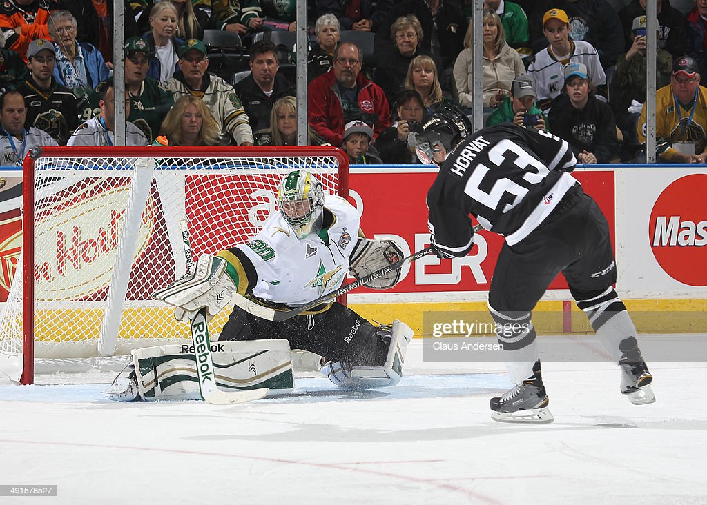 Bo Horvat #53 of the London Knights just misses on a penalty shot against Antoine Bibeau #30 of the Val'Dor Foreurs in Game One of the 2014 Mastercard Memorial Cup at the Budweiser Gardens on May 16, 2014 in London, Ontario, Canada. The Foreurs defeated the Knights 1-0.