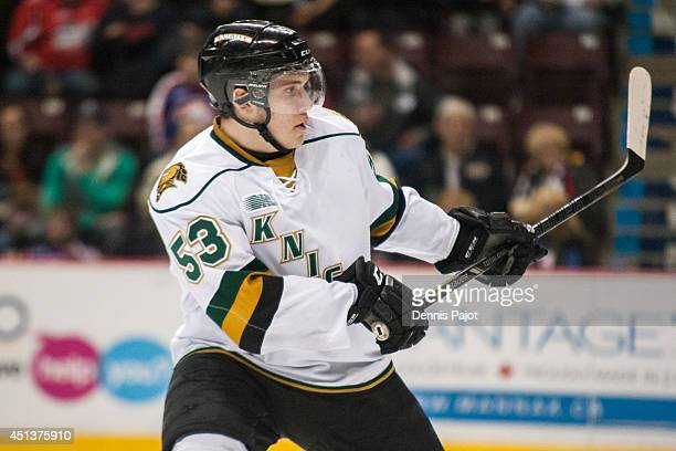 Bo Horvat of the London Knights skates against the Windsor Spitfires in Game 3 of their OHL QuarterFinal series on March 25 2014 at the WFCU Centre...
