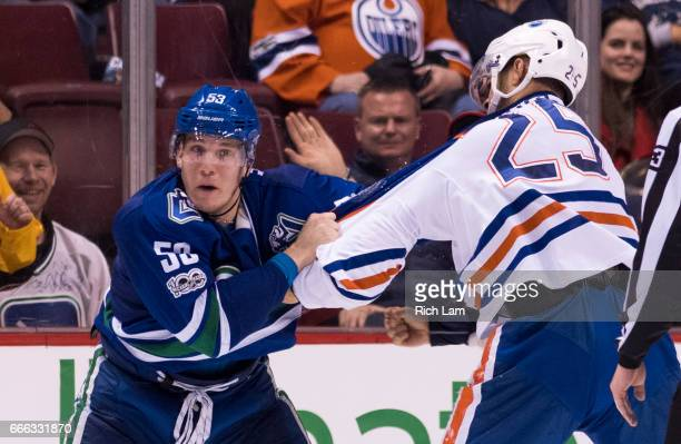 Bo Horvat of the Vancouver Canucks and Darnell Nurse of the Edmonton Oilers fight in NHL action on April 8 2017 at Rogers Arena in Vancouver British...