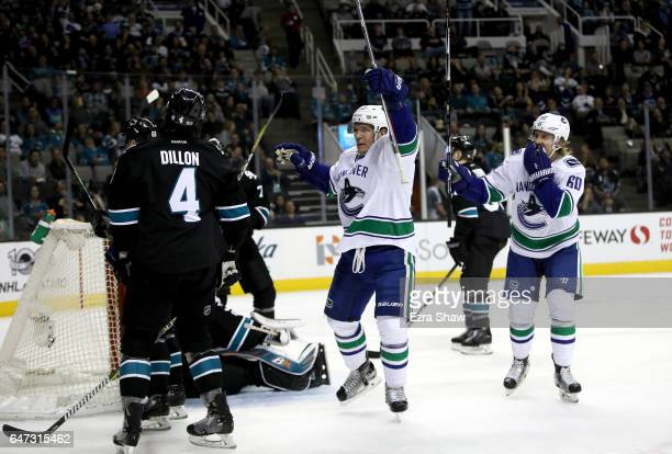 Bo Horvat of the Vancouver Canucks celebrates after he scored a goal on Aaron Dell of the San Jose Sharks in the first period at SAP Center on March...