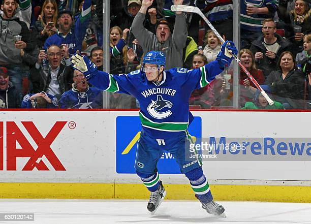 Bo Horvat of the Vancouver Canucks celebrates after scoring the winning goal against the Tampa Bay Lightning during their NHL game at Rogers Arena...