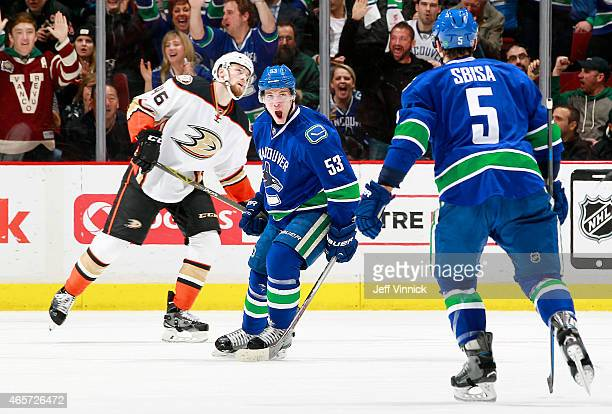 Bo Horvat of the Vancouver Canucks celebrates his goal as he skates between Jiri Sekac of the Anaheim Ducks and Luca Sbisa of the Canucks during...