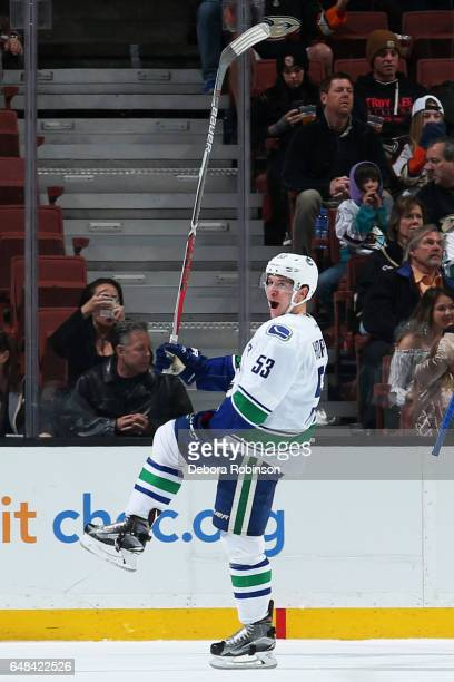 Bo Horvat of the Vancouver Canucks celebrates his goal in the first period during the game against the Anaheim Ducks on March 4 2017 at Honda Center...