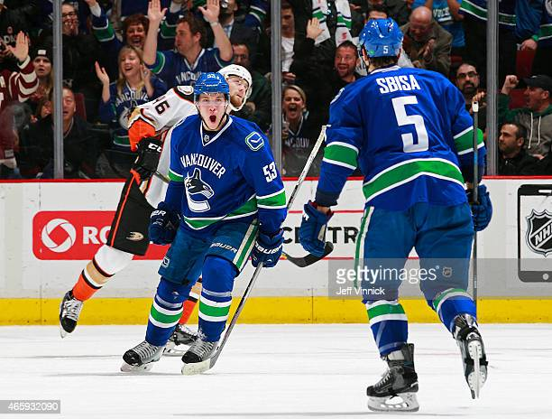 Bo Horvat of the Vancouver Canucks celebrates his goal with teammate Luca Sbisa after scoring during their NHL game against the Anaheim Ducks at...