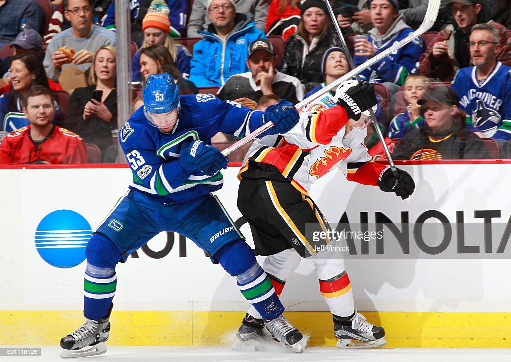Bo Horvat #53 of the Vancouver Canucks checks Kris Versteeg #10 of the Calgary Flames during their NHL game at Rogers Arena January 6, 2017 in Vancouver, British Columbia, Canada. Vancouver won 4-2.