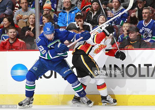 Bo Horvat of the Vancouver Canucks checks Kris Versteeg of the Calgary Flames during their NHL game at Rogers Arena January 6 2017 in Vancouver...