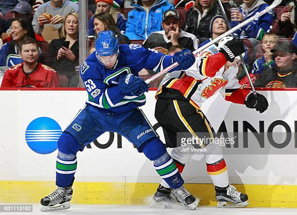 Bo Horvat of the Vancouver Canucks collides with Kris Versteeg of the Calgary Flames during their NHL game at Rogers Arena January 6 2017 in...