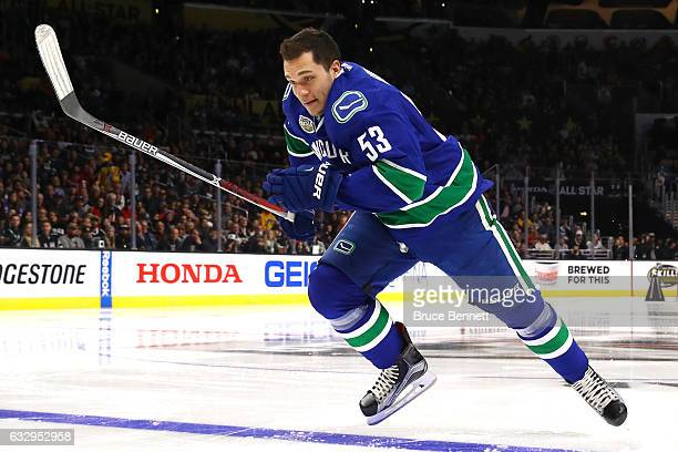 Bo Horvat of the Vancouver Canucks competes in the Bridgestone NHL Fastest Skater event during the 2017 Coors Light NHL AllStar Skills Competition as...