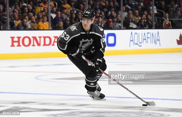 Bo Horvat of the Vancouver Canucks controls the puck near the blueline during the 2017 Honda NHL AllStar Game at Staples Center on January 29 2017 in...