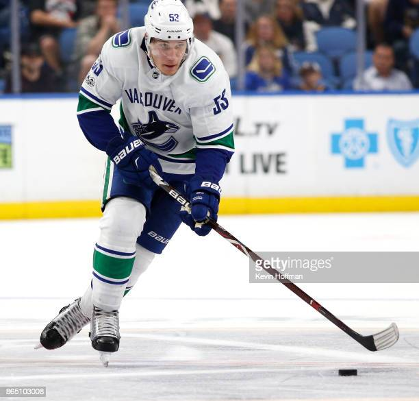 Bo Horvat of the Vancouver Canucks during the game against the Buffalo Sabres at the KeyBank Center on October 20 2017 in Buffalo New York