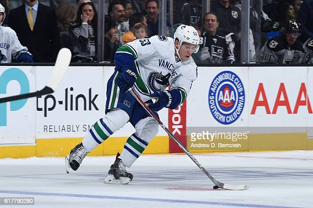 Bo Horvat of the Vancouver Canucks handles the puck during a game against the Los Angeles Kings at STAPLES Center on October 22 2016 in Los Angeles...
