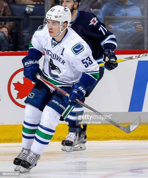 Bo Horvat of the Vancouver Canucks keeps an eye on the play during third period action against the Winnipeg Jets at the MTS Centre on March 26 2017...