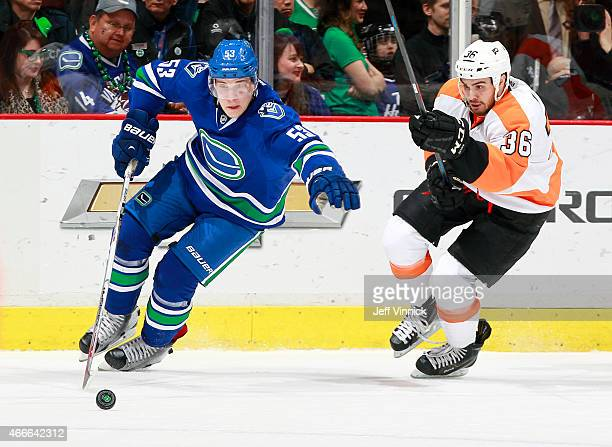 Bo Horvat of the Vancouver Canucks pulls away from Zac Rinaldo of the Philadelphia Flyers during their NHL game at Rogers Arena March 17 2015 in...