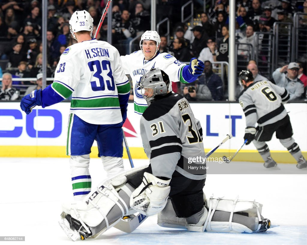 Bo Horvat #53 of the Vancouver Canucks reacts to the goal of Henrik Sedin #33 on Ben Bishop #31 of the Los Angeles Kings during the first period at Staples Center on March 4, 2017 in Los Angeles, California.