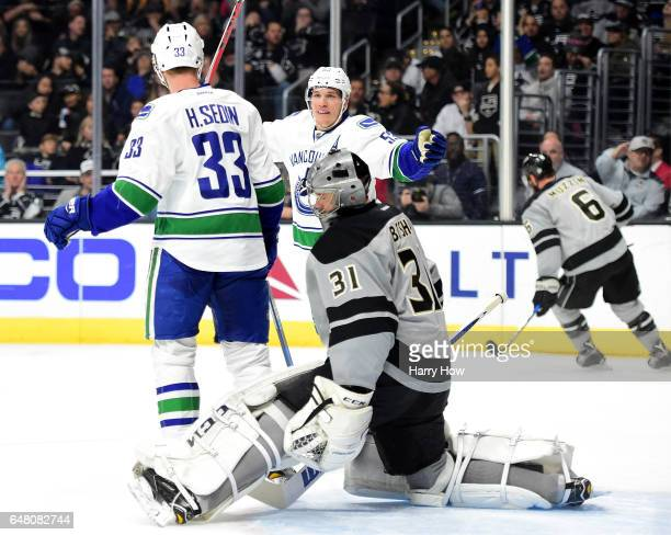 Bo Horvat of the Vancouver Canucks reacts to the goal of Henrik Sedin on Ben Bishop of the Los Angeles Kings during the first period at Staples...