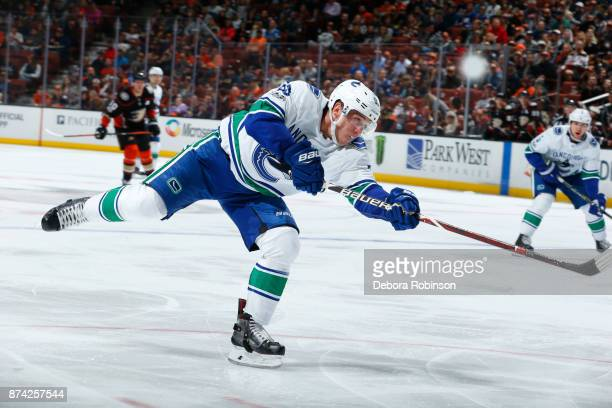 Bo Horvat of the Vancouver Canucks releases a shot during the game against the Anaheim Ducks on November 9 2017 at Honda Center in Anaheim California