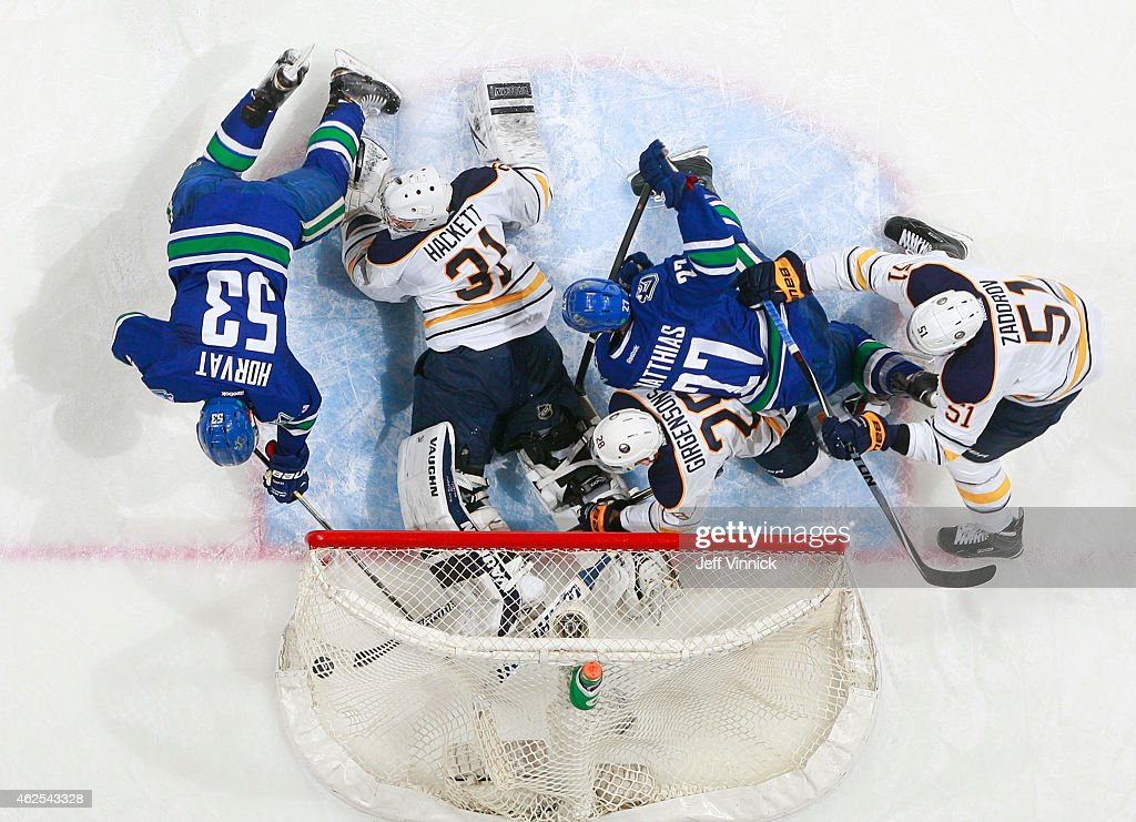 <a gi-track='captionPersonalityLinkClicked' href=/galleries/search?phrase=Bo+Horvat&family=editorial&specificpeople=8321784 ng-click='$event.stopPropagation()'>Bo Horvat</a> #53 of the Vancouver Canucks scores on <a gi-track='captionPersonalityLinkClicked' href=/galleries/search?phrase=Matt+Hackett&family=editorial&specificpeople=4161891 ng-click='$event.stopPropagation()'>Matt Hackett</a> #31 of the Buffalo Sabres with <a gi-track='captionPersonalityLinkClicked' href=/galleries/search?phrase=Zemgus+Girgensons&family=editorial&specificpeople=8050732 ng-click='$event.stopPropagation()'>Zemgus Girgensons</a> #28 and <a gi-track='captionPersonalityLinkClicked' href=/galleries/search?phrase=Nikita+Zadorov&family=editorial&specificpeople=9784875 ng-click='$event.stopPropagation()'>Nikita Zadorov</a> #51 of Buffalo joining <a gi-track='captionPersonalityLinkClicked' href=/galleries/search?phrase=Shawn+Matthias+-+Ice+Hockey+Player&family=editorial&specificpeople=537950 ng-click='$event.stopPropagation()'>Shawn Matthias</a> #27 of the Vancouver Canucks in the crease during their game at Rogers Arena January 30, 2015 in Vancouver, British Columbia, Canada.