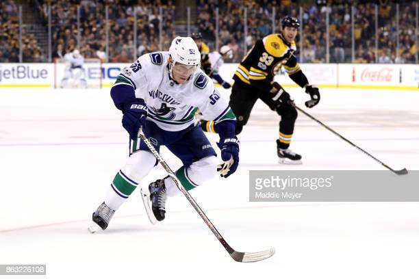 Bo Horvat of the Vancouver Canucks skates against the Boston Bruins during the second period at TD Garden on October 19 2017 in Boston Massachusetts