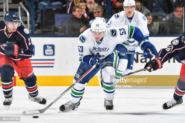 Bo Horvat of the Vancouver Canucks skates against the Columbus Blue Jackets on February 9 2017 at Nationwide Arena in Columbus Ohio Vancouver shutout...