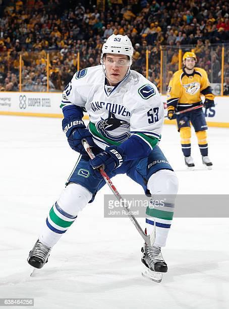 Bo Horvat of the Vancouver Canucks skates against the Nashville Predators during an NHL game at Bridgestone Arena on January 10 2017 in Nashville...