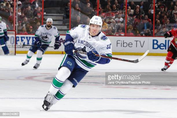 Bo Horvat of the Vancouver Canucks skates against the Ottawa Senators at Canadian Tire Centre on October 17 2017 in Ottawa Ontario Canada