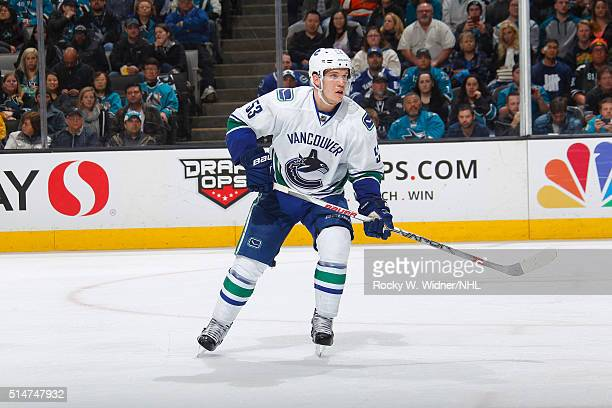 Bo Horvat of the Vancouver Canucks skates against the San Jose Sharks at SAP Center on March 5 2016 in San Jose California