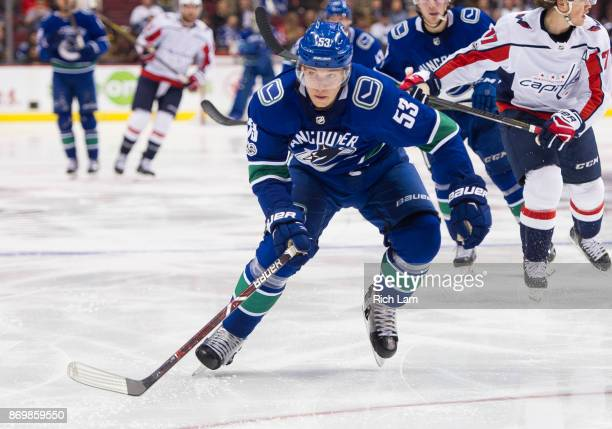 Bo Horvat of the Vancouver Canucks skates during NHL action against the Washington Capitals on October 2017 at Rogers Arena in Vancouver British...