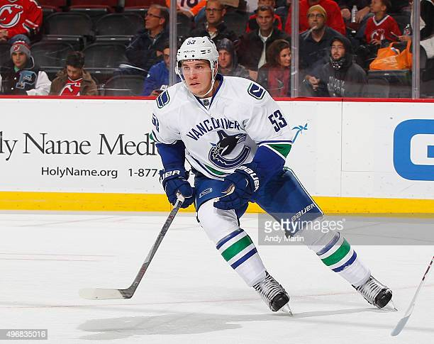 Bo Horvat of the Vancouver Canucks skates during the game against the New Jersey Devils at the Prudential Center on November 8 2015 in Newark New...