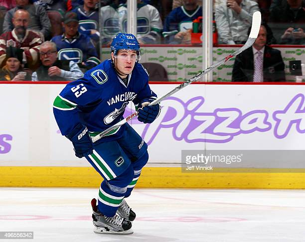 Bo Horvat of the Vancouver Canucks skates up ice during their NHL game against the Pittsburgh Penguins at Rogers Arena November 4 2015 in Vancouver...