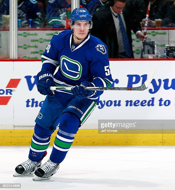 Bo Horvat of the Vancouver Canucks skates up ice during their NHL game against the Boston Bruins at Rogers Arena December 5 2015 in Vancouver British...