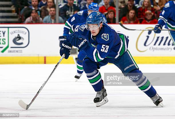 Bo Horvat of the Vancouver Canucks skates up ice during their NHL game against the Calgary Flames at Rogers Arena February 6 2016 in Vancouver...