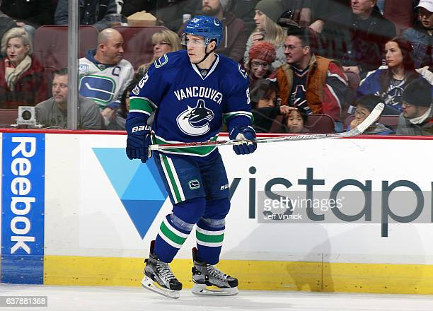 Bo Horvat of the Vancouver Canucks skates up ice during their NHL game against the Colorado Avalanche at Rogers Arena January 2 2017 in Vancouver...