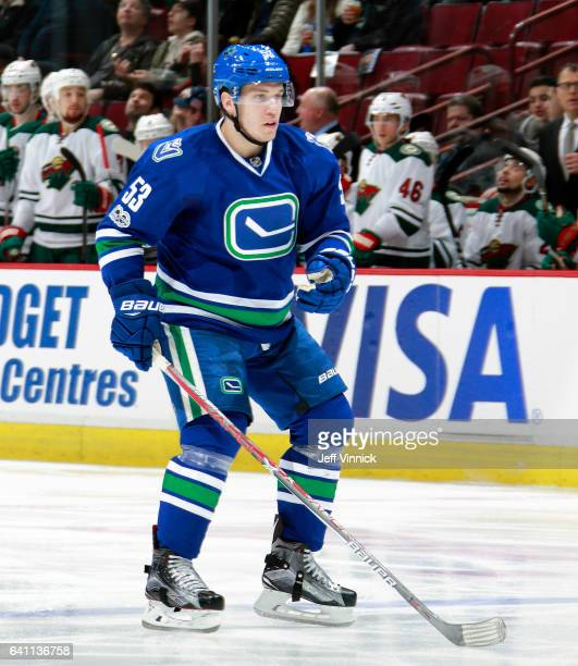 Bo Horvat of the Vancouver Canucks skates up ice during their NHL game against the Minnesota Wild at Rogers Arena February 4 2017 in Vancouver...