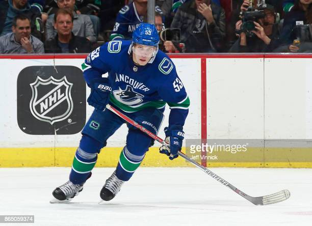 Bo Horvat of the Vancouver Canucks skates up ice during their NHL game against the Ottawa Senators at Rogers Arena October 10 2017 in Vancouver...