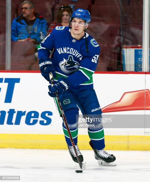 Bo Horvat of the Vancouver Canucks skates up ice during their NHL game against the New Jersey Devils at Rogers Arena November 1 2017 in Vancouver...
