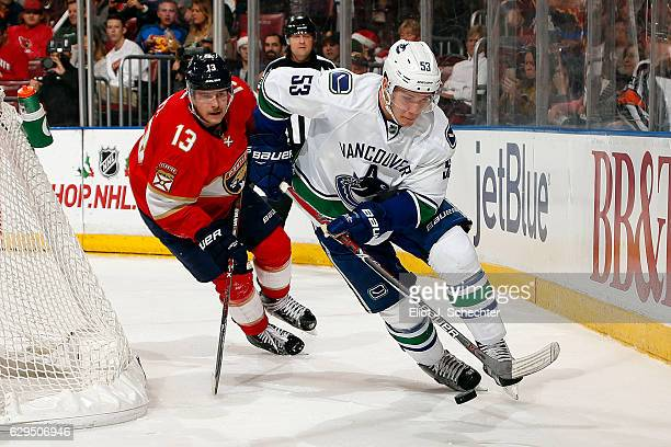 Bo Horvat of the Vancouver Canucks skates with the puck against Mark Pysyk of the Florida Panthers at the BBT Center on December 10 2016 in Sunrise...