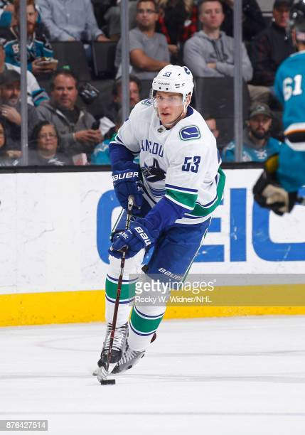 Bo Horvat of the Vancouver Canucks skates with the puck against the San Jose Sharks at SAP Center on November 11 2017 in San Jose California