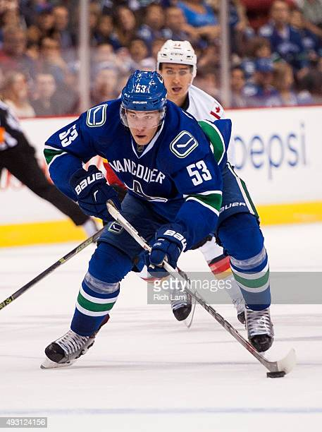 Bo Horvat of the Vancouver Canucks skates with the puck in NHL action against the Calgary Flames on October 10 2015 at Rogers Arena in Vancouver...